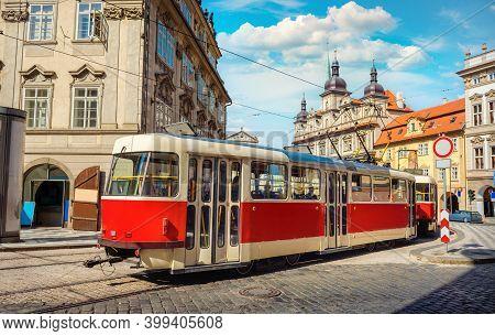 Tram In Prague On A Historic Street