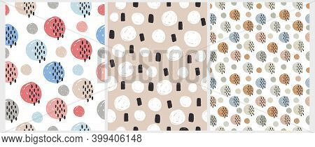 Simple Hand Drawn Dotted Print. Seamless Vector Patterns With Irregular Spots Isolated On A White An