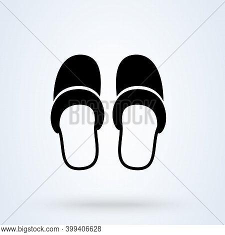 Slippers Sign Icon Or Logo. Slipper Home Concept. Bedroom Slippers Vector Illustration.
