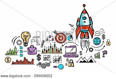 Business And New Business Concept. Rocket, Diagram, Charts, Marketing Infographic And Business Icons