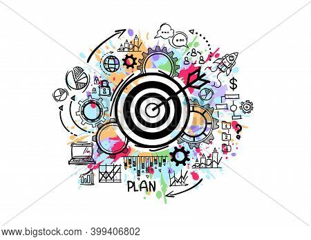 Success And Start Up Concept. Business Target With Diagram, Charts And Marketing Infographic. Cartoo