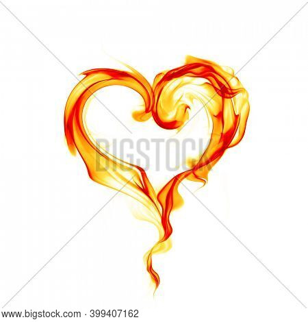 Burning heart symbol. Rire flames isolated on white background.  3d illustration.