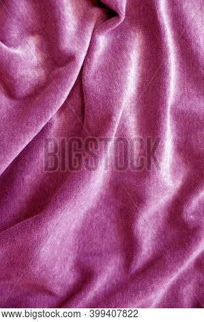 Pink Velor Draped Material For Textile Background