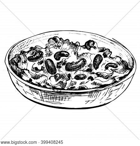 Chili Con Carne In Bowl - Mexican Traditional Food. Vector Monochrome Vintage Hatching Color Illustr