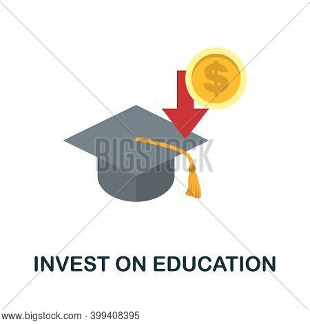 Invest On Education Flat Icon. Color Simple Element From Stem Education Collection. Creative Invest