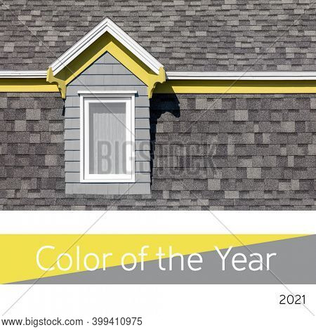 Color of the year 2020, Ultimate Gray and Illuminating yellow. Bright window and tiled wall representing this color trend for 2021.
