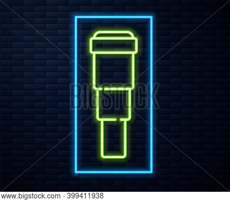 Glowing Neon Line Spyglass Telescope Lens Icon Isolated On Brick Wall Background. Sailor Spyglass. V