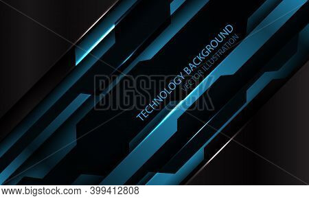 Abstract Blue Black Metallic Cyber Futuristic Slash Banner Design Modern Technology Background Vecto