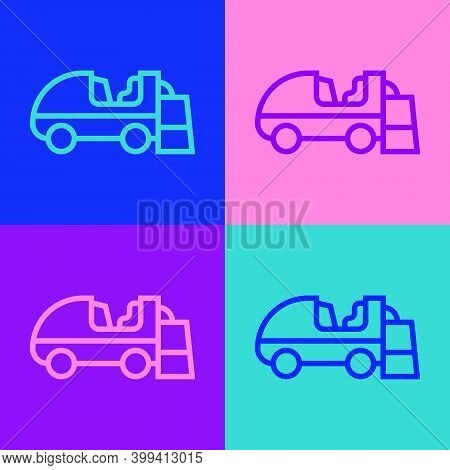 Pop Art Line Ice Resurfacer Icon Isolated On Color Background. Ice Resurfacing Machine On Rink. Clea