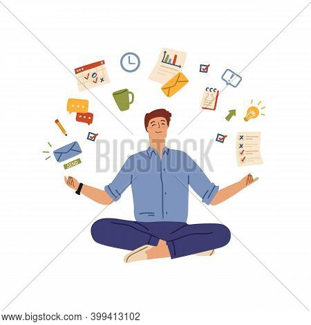 Multitask Office Man. Workaholic Person, Hard Working Businessman And Work System. Manager Tasks, Ma