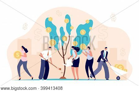 People Growth Money. Investment Bankers, Financial Income Profit Metaphor. Cartoon Coins On Tree, Su