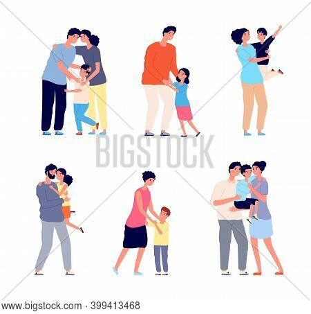 Parents Hugging Child. Family Embracing, Dad Mom Hug Daughter. Friendship Romantic Relationship, Adu
