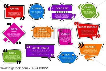 Quote Bubble. Texting Template, Text Sign Box Sentences. Web Testimonial Talk Comment, Dialogue Or D