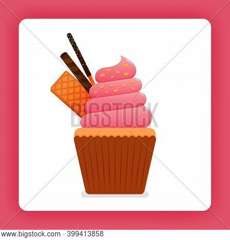 Illustration Of Cupcake With Strawberry Soft Cream With Waffle, Chocolate Sticks And Twist Wafer Cho