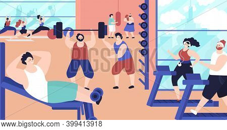 People Training In Gym. Strong Active Exercise, Training Fitness Center. Aerobics Group, Flat Health