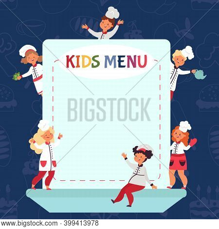 Kids Cooking Background. Little Chef, Children Menu Or Certificate Template. Restaurant Design, Youn