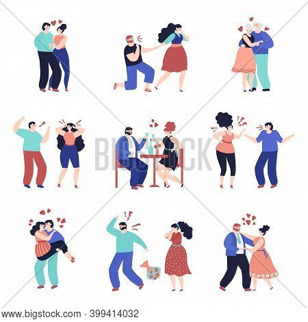Conflict Relationship. People Violence, Unhappy Woman With Angry Partner. Couple In Love, Cartoon Wi