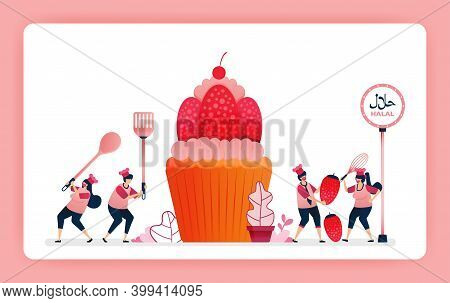 Food Illustration Of Cook Halal Sweet Strawberry Cupcakes. Cook Chocolate Wafer Snacks For Muffin To