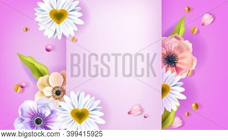 Valentine's Day Floral Vector Background Or Greeting Card With Anemone Flowers, Chamomile, Green Lea