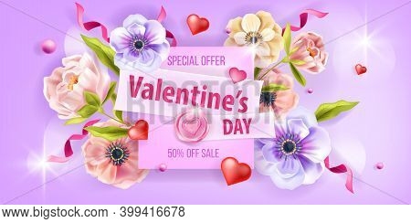 Valentine's Day Promo Sale Card Love Vector Background With Anemone Flowers, Peony, Hearts, Confetti