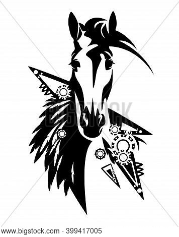 Wild Mustang Horse With Tribal Style Feathered Decoration - Black And White Vector Design Of Indian
