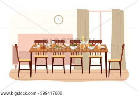 The Dining Room Design Flat Vector Illustration. Dining Table With Food And Chairs Nearby. Furniture