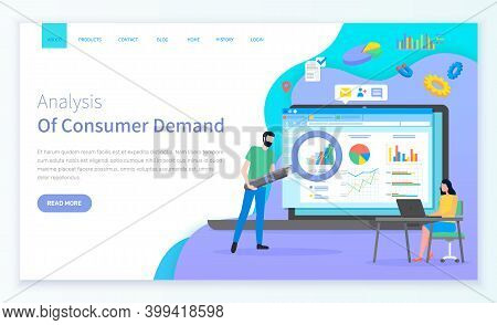 Consumer Demand Site Template. Young Woman Sits At Laptop. Bearded Man With Cartoon Giant Magnifying