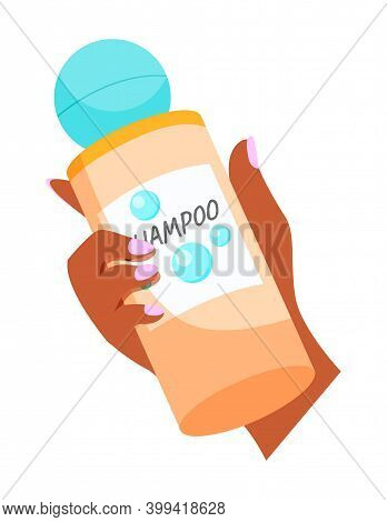 Tanned Woman Hand Holding A Bottle Of Shampoo With Pink Polished Nails. Hair Cleansing Icon. Cartoon