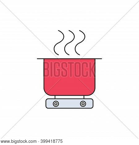Cooking Food, Saucepan On The Stove. Food Is Being Prepared In A Saucepan. Simple Vector Icon, Fille