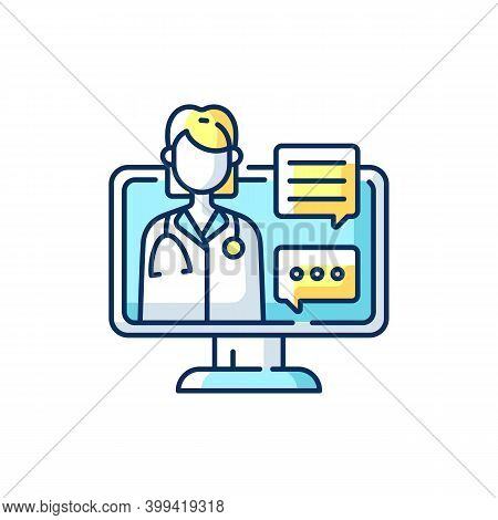 Chat Consultation Rgb Color Icon. Personalized Care For Urgent And On-going Medical Conditions. Mess