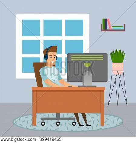 Programmer Smiling Man Sitting At Table And Using Computer. Quarantine Distance Work. Freelance Work
