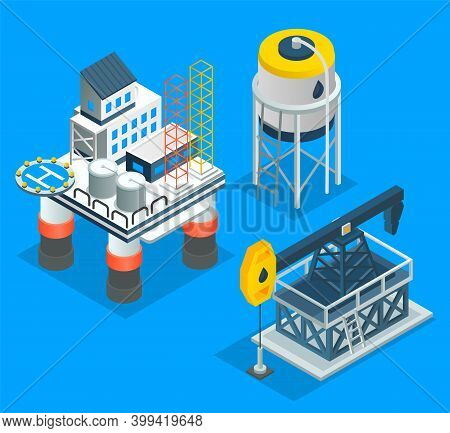 Oil Petroleum Industry. Isometric Industrial Icons. Making Industrial Petroleum For Different Purpos