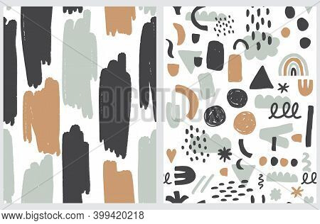 Simple Hand Drawn Doodle Prints. Seamless Vector Patterns With Irregular Spots Isolated On A White B