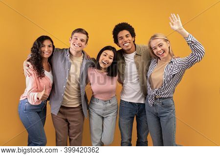 Education At University Or College Abroad. Cheerful Young Multiracial International Students Have Fu