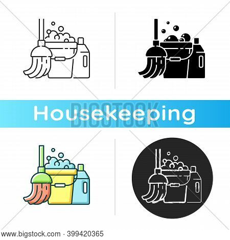 Floor Mopping Icon. Linear Black And Rgb Color Styles. Household Chore, Washing Floors. Domestic Cle