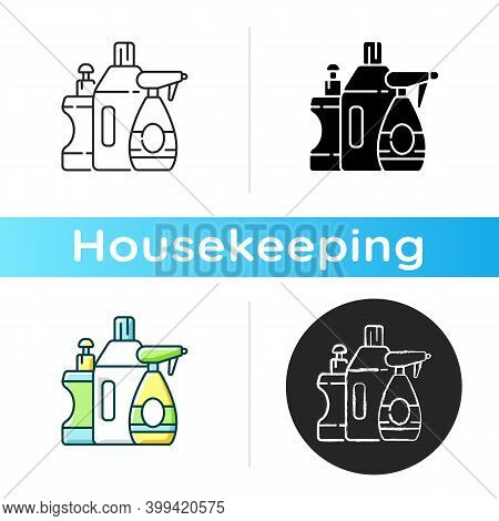 Cleaning Products Icon. Linear Black And Rgb Color Styles. Janitorial Supplies, Chemicals For Househ