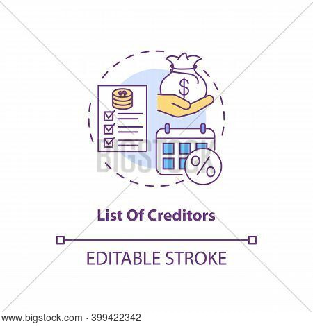 List Of Creditors Concept Icon. Financial Report. Debtor Document With Information. Bankruptcy Idea
