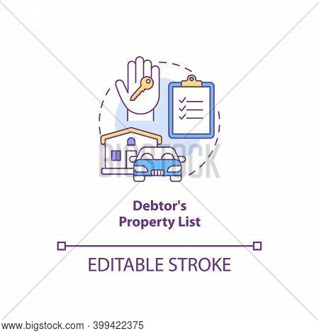 Debtor Property List Concept Icon. Mortgage For Real Estate. Creditor Contract. Financial Report. Ba