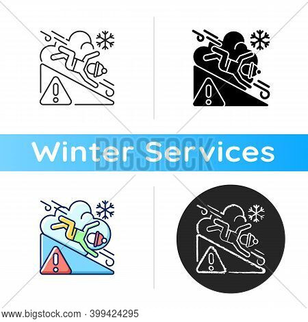 Avalanche Warning Sign Icon. Dangerous Snowy Mountain Areas. Seasonal Skiing Accidents. Preventing H