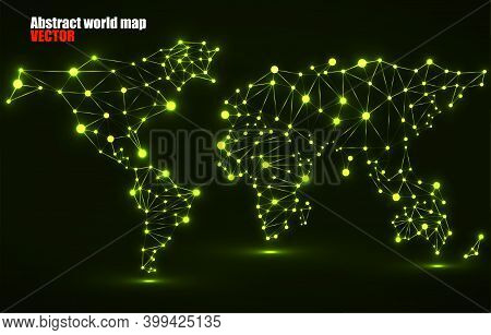 Technology Polygonal World Map. Global Earth Map With Glowing Dots And Lines, Network Connections