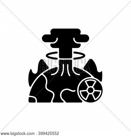Apocalypse Black Glyph Icon. End Of Whole World Existence. Damaging Every People Life. Humanity Stop