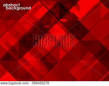 Abstract Red Background Of Geometric Overlap, Colorful Mosaic