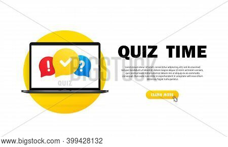 Quiz Online On Laptop. The Concept Is The Question With The Answer. Quiz Time. Vector Illustration.