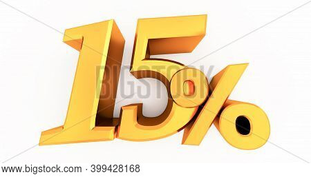 3d Render Of Gold 15 Percent Off, Special Offer 15% Discount Tag, Sale Up To 15 Percent Off Isolated