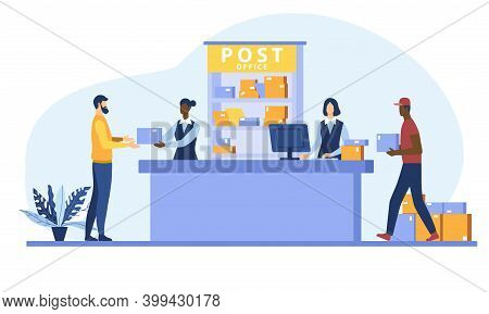 Postman Giving Parcel To Customer In Post Office. Courier Carrying Boxes. Flat Cartoon Vector Illust