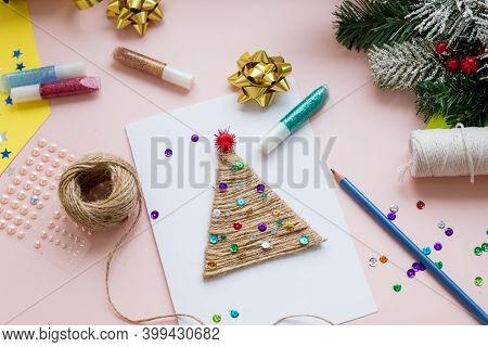 Making Handmade Christmas Card.childrens Diy Concept. Making Xmas Toys Decoration Or Greeting Card.