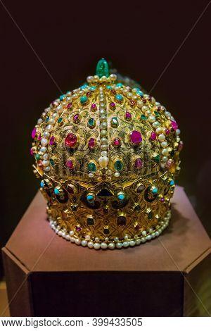 Vienna Austria - December 30, 2016: Crown in Museum Hofburg palace in Vienna.