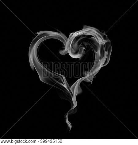 Heart symbol made of smoke isolated on black background. 3d illustration.