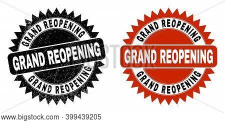 Black Rosette Grand Reopening Seal Stamp. Flat Vector Distress Seal Stamp With Grand Reopening Messa