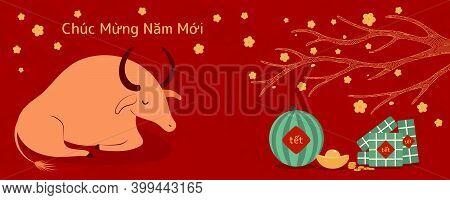 2021 Vietnamese New Year Tet Illustration, Buffalo, Rice Cakes, Watermelon, Gold, Apricot Flowers, V